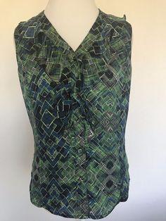 4df4634069282 Tahari Arthur S. Levine sleeveless ruffle front button down blouse Size M # Tahari #