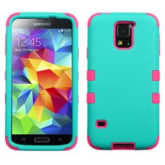 Insten Rubberized Teal Green/Electric Pink Tuff Hybrid Skin Case Cover For Samsung Galaxy Multi Galaxy S5 Case, Samsung Galaxy S4, Green Electric, S5 Mini, Skin Case, Teal Green, Galaxies, Hot Pink, Phone Cases