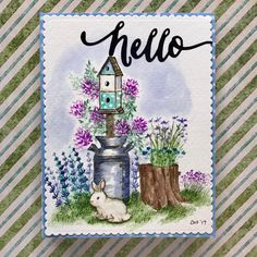 Art Impressions Wonderful Watercolor.  Bunnies, Containers, flowers, foliage, birdhouse, stump