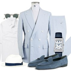 Great Mens Fashion, Preppy Mens Fashion, Men's Fashion, Summer Outfits Men, Summer Suits, Double Breasted Suit Men, Classy Men, Well Dressed Men, Gentleman Style