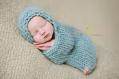 Sweet Cocoon that is snug like a peanut for newborns. Knit loosely enough that you can poke those cute little piggies out! Check out all the color choices!