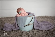 Zionsville newborn photography - baby in a bucket - purple and teal
