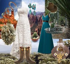 This collage features some great ideas if you're in the middle of planning a Western wedding.