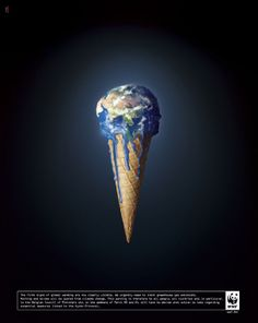 """Leo Ou-The design is about the world. Designer make the world become to be a ice cream. The """"Ice cream"""" is melting, which is relate to global warming. that image is very strong and very impress to show what designer want to say. Ice cream can be melting very fast in normal temperature, that is mean that it is an important issue to the world."""