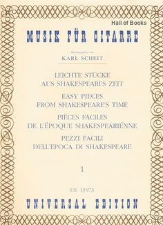 Musik Fur Gitarre: Easy Pieces From Shakespeare's Time. Music Online, Textbook, Sheet Music, Fur, Easy, Books, Guitar, Musik, Libros