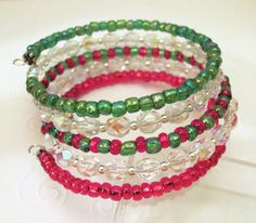 5 Strand Green and Red Seed Bead and Faceted Glass Memory Wire Bracelet. $17.00, via Etsy.