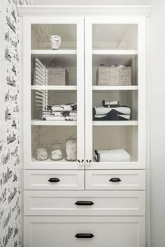 Modern Farmhouse Bathroom Storage - Part of a Picture Perfect Modern Farmhouse Tour Featuring Beautiful Farmhouse Decor Source by janaekathleen Storage cabinet Bathroom Linen Closet, Small Bathroom, Linen Closets, Linen Cabinet In Bathroom, Bathroom Ideas, Built In Bathroom Storage, Closet Storage, Master Bathroom, Bathroom Makeovers