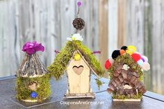 Create a Fairy House Village or Fairy Garden using wooden bird houses as the base. The possibilities are endless. Gather some Pixie Dust and get started!