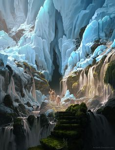 The Frozen Pass by arcipello cave tunnel stars winter snow ice landscape location environment architecture | Create your own roleplaying game material w/ RPG Bard: www.rpgbard.com | Writing inspiration for Dungeons and Dragons DND D&D Pathfinder PFRPG Warhammer 40k Star Wars Shadowrun Call of Cthulhu Lord of the Rings LoTR + d20 fantasy science fiction scifi horror design | Not Trusty Sword art: click artwork for source