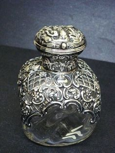 "crystal perfume scent bottle with hallmarked silver overlay, English, c 1900, 5"" tall. #antique #vintage"