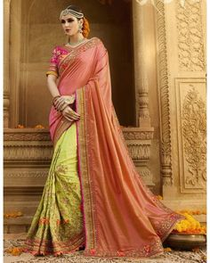Rust Pink & Parrot Green Embroidered Saree