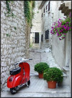 Red Scooter by phwall in Saint Paul d.e Vence Red Vespa, Europe, France, Pathways, Outdoor Spaces, Red And White, To Go, Journey, Italy