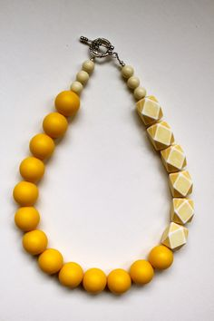 The Lia - bright, bold yellow vintage bead statement necklace. $80.00, via Etsy.
