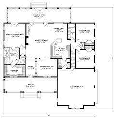 House Plan 86220 - Bungalow, Craftsman Style House Plan with 2012 Sq Ft, 3 Bed, 2 Bath, 2 Car Garage Bungalow Floor Plans, Craftsman Style House Plans, House Floor Plans, 4 Bedroom House Plans, Dream House Plans, Small House Plans, Bungalows, Building Plans, Building A House