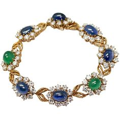 Van Cleef & Arpels 1968 Emerald Sapphire Diamond Gold Bracelet, 1968
