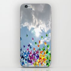 Butterflies in blue sky iPhone Skin by azima Yoga For Kids, Iphone Skins, Yoga Meditation, Ipod Touch, Vinyl Decals, Pop Art, Butterfly, Sky, Blue