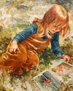 """A Girl Reading a book""  by Karoly (Charles) Roka (1912 – 1999, Hungarian-born Norwegian)"