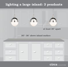Tips on hanging pendant lights over kitchen island.