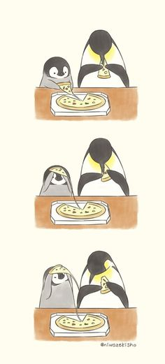 My favourite things! Pizza and Penguins Penguin Drawing, Penguin Art, Penguin Love, Cute Penguins, Cute Animal Drawings, Kawaii Drawings, Cute Drawings, Penguin Pictures, Cute Pictures
