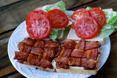 THE BLT! Are you ready to experience a bacon lettuce and tomato sandwich the way it should always be experienced? Lucky you to have found this post! Seriously, this is the best BLT I've ever had because the bacon is thick and woven together into a perfect square so you get bacon in every bite! I included step by step photos with brief instructions for each. I promise it's not as complicated as it sounds.