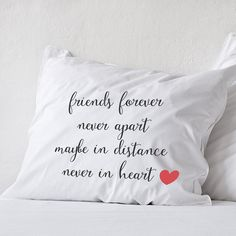 Long distance Friendship Friend Gift Pillow Missing You I Miss You Gift distance Friendship Friend I miss missing you gifts moving away gift, friends forever never apart maybe in distance never in heart (1 piece)   Let into your home a little pillow that will remember you about your friend! That is some special long distance friendship gift, dont say that you miss your love, just hug the pillow and smile with that! :)  All pillowcases made with love and are 100% handmade. This hand drawing…
