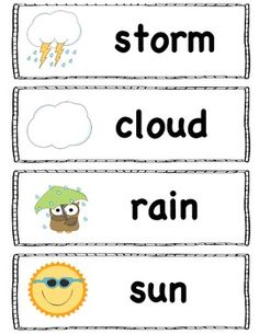 Weather words for the pocket chart, word wall or writing center. Includes eight words. Check out my store for more FREE words. Print on card stoc. Weather Kindergarten, Preschool Weather, Kindergarten Science, Preschool Classroom, Science Activities, Teaching Science, Future Classroom, Weather Words, Weather Unit