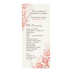 Classy Ombre Coral Wedding Program 4x9.25 Paper Invitation Card