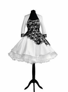 Brautkleider - Brautkleid Petticoatkleid schwarz Spitze 50er Jahr - ein Designerstück von myrockabillymode bei DaWanda