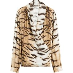 Roberto Cavalli Printed Silk Blouse (€657) ❤ liked on Polyvore featuring tops, blouses, animal print, draped tops, high neck top, drape front blouse, long sleeve drape top and shiny blouse