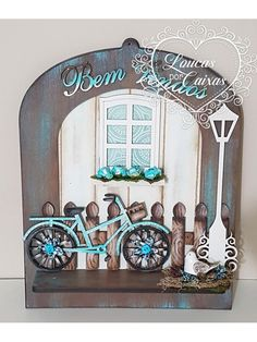 kit placa bem vindos cerca, bicicleta e poste Masculine Cards, Mixed Media Art, Shadow Box, Stencils, Projects To Try, Shabby, Arts And Crafts, Scrapbook, Poster