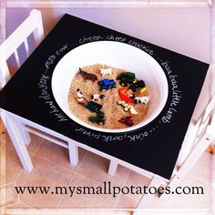 "My Small Potatoes has repurposed an old, worn out play table to make a sensory play table ("",)"