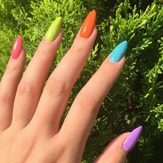 Multi Coloured Nails New Trend and Best Designs is part of Purple nails Spring Lilacs - Here you can see some interesting colorful nail designs, you can try ❤ That is why we have gathered these multi colored nails ideas ❤ See more at LadyLife ❤ Rainbow Nails, Neon Nails, Purple Nails, My Nails, Yellow Nails Design, Yellow Nail Art, Neon Nail Designs, Acrylic Nail Designs, Cute Acrylic Nails