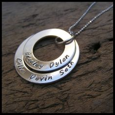 Double Washer Stack Hand Stamped Sterling Necklace