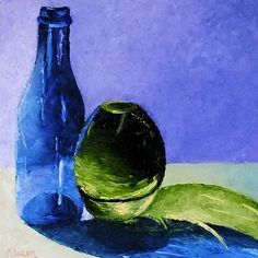 Karen Balon: 30 Days of Painting ~ Glass Study #6 Blue & Green Glass