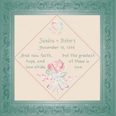 Wedding Anniversary - Personalize I Corinthians with the couples names and date - cross stitch chart Cross Stitch Charts, Cross Stitch Designs, Wedding Cross Stitch, Personalized Anniversary Gifts, Names With Meaning, Friendship Gifts, Wedding Anniversary, Bible Verses, Baby Gifts