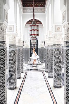The dreamiest covered and column-lined hallway in Marrakech, Morocco.
