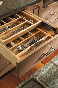 Organization and Specialty Products - Solid Wood Tiered Cutlery Divider Kitchen Cabinet Accessories, Kitchen Cabinet Organization, Storage Cabinets, Custom Kitchen Cabinets, Kitchen Cabinets In Bathroom, Kitchen And Bath, Farmhouse Cabinets, Bath Cabinets, Diamond Cabinets