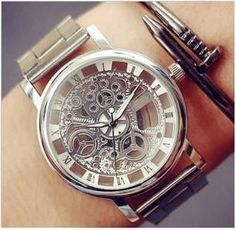Luxury Stainless Steel Skeleton Watch Step up your game with this great piece! Highly polished crystal on a solid stainless steel case. Quartz Wristwatch, Stainless Steel, Dial Diameter 4 cm, Band Wid