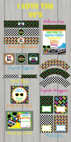 80's Printable Party Package The 80's 80's by PartyInvitesAndMore, $20.00