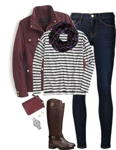 Burgundy, stripes & plaid by steffiestaffie featuring a red purse ❤ liked on Polyvore J Crew striped t shirt $66 - jcrew.com J Crew military field jacket jcrew.com Frame Denim skinny...