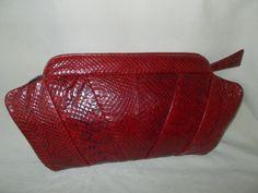 Huge vintage art deco 1930's red snakes skin clutch bag by VintageHandbagDreams on Etsy