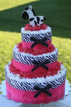 Pink Zebra Diaper Cake