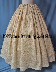 Sewing Instructions for Ladies Costume - Drawstring Waist Long Skirt - PDF Download - Sew Your Own Pioneer Skirt - Reenactment Costume