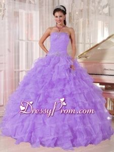 A-line Strapless Lavender Organza Beading Exclusive Quinceanera Dress for Party