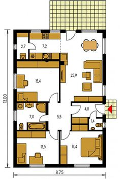 Rodinný dom Bungalow 142, projekty rodinných domov   Mecon.sk One Floor House Plans, Small House Plans, Apartment Floor Plans, Flat Ideas, Village Houses, Home Design Plans, Facade House, Handmade Home Decor, Planer