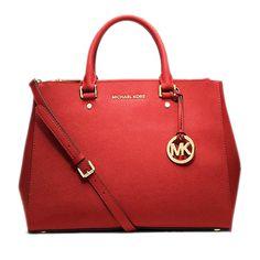 Fashion Michael Kors Sutton Saffiano Leather Large Red Satchels Online!