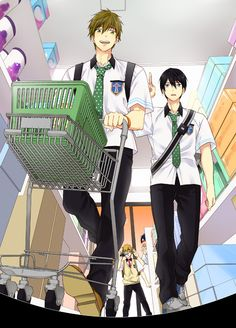 Free! ~~~ Shopping with Ryugazaki Rei, Hazuki Nagisa, Nanase Haruka & Tachibana Makoto ::: Wonder what Nagisa plans to do with that video? Me too.
