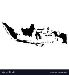 Black silhouette country borders map of indonesia vector image on VectorStock Black And White Stickers, Beauty And The Best, Black Silhouette, Instagram Highlight Icons, Bike Art, Busy Book, Traditional Art, Drawing, Country