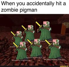 When You Accidentally Hit A Zombie Pigman Ifunny Minecraft