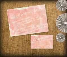 Watercolor Wedding Invitation and RSVP Stationary by HermiasWishes, $30.00